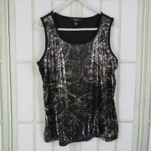 Style & Co. size medium swirl sequin top black